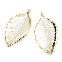 Pendant mother of pearl leaf 61x33x5 mm hole 1.5 mm cream - 20 grams ~ 11 pieces