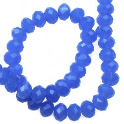 Наниз мъниста кристал 8x6 мм дупка 1 мм галванизиран ЖЕЛЕ син ~72 броя