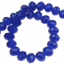 Наниз мъниста кристал 8x5 мм дупка 1 мм галванизиран ЖЕЛЕ син индиго ~72 броя