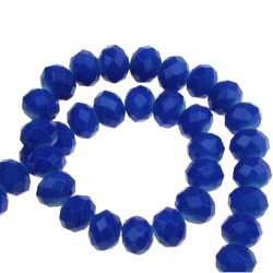 Наниз мъниста кристал 8x5 мм дупка 1 мм галванизиран ЖЕЛЕ син ~72 броя