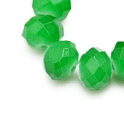 Наниз мъниста кристал 8x5 мм дупка 1 мм галванизиран ЖЕЛЕ зелен тъмен ~72 броя