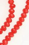 Наниз мъниста кристал 4.5x3.5 мм дупка 1 мм прозрачен червен ±150 броя