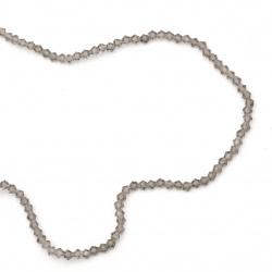 Наниз мъниста кристал 4x4 мм дупка 1 мм прозрачен сив ~120 броя