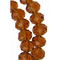Наниз мъниста кристал 6x4 мм дупка 1 мм прозрачен кафяв пясъчно ~100 броя