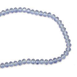 Наниз мъниста кристал 8x6 мм дупка 1 мм прозрачен син светло ~72 броя