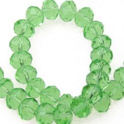 Наниз мъниста кристал 8x6 мм дупка 1 мм прозрачен зелен светло ~72 броя