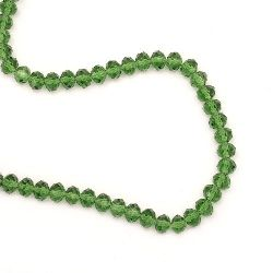 Transparent crystal beads string for for DIY home decor projects 8x6 mm hole 1 mm dark green  ~ 72 pieces