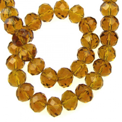 Glamorous crystal glass beads strand for jewelry making and DIY home decor ideas 10x7 mm hole 1 mm transparent brown sand ~ 72 pieces