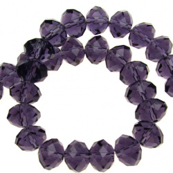 Shiny crystal glass beads strand, faceted form for DIY dress decoration, gifts and other crafts 10x7 mm hole 1 mm transparent purple ~ 72 pieces