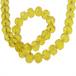 Faceted crystal beads strand for wedding decoration and DIY home art projects 10x7 mm hole 1 mm transparent gold ~ 72 pieces