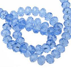 Șirag de mărgele cristal 10x7 mm gaură 1 mm lumină albastră transparentă ± 72 bucăți