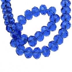 Наниз мъниста кристал 10x7 мм дупка 1 мм прозрачен син ~72 броя