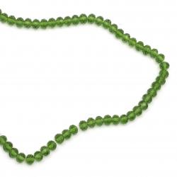 Наниз мъниста кристал 10x7 мм дупка 1 мм прозрачен зелен тъмно ~72 броя
