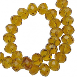Crystal beads strand  for DIY necklaces, bracelets and garment accessories 10x7 mm hole 1 mm transparent gold shade ~ 72 pieces