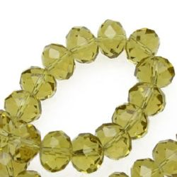 Colored crystal beads string for DIY dress decoration, gifts and other crafts 12x8 mm hole 1 mm transparent khaki ~ 72 pieces
