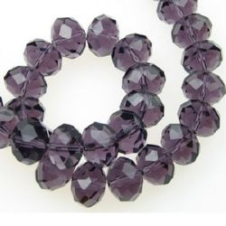 Spectacular crystal glass beads strand for jewelry making 14x10 mm hole 1 mm transparent purple ~ 60 pieces