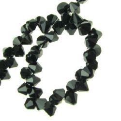 Наниз мъниста кристал 7x6 мм дупка 1 мм черен ~100 броя
