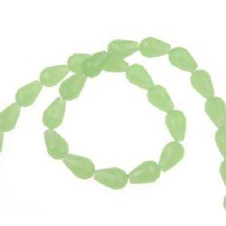 Наниз мъниста кристал капка 11x8 мм дупка 1 мм галванизиран ЖЕЛЕ зелен ~72 броя