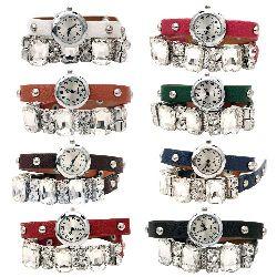 Часовник естествена кожа метал цвят сребро 400x10 мм АСОРТЕ
