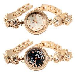 Часовник метал цвят злато кристали 17 см цветя АСОРТЕ