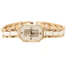 Часовник метал цвят злато кристали 19 см бял