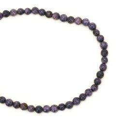 Гердан естествен камък ТЮРКОАЗ синтетичен лилав топче 4 мм -22 см