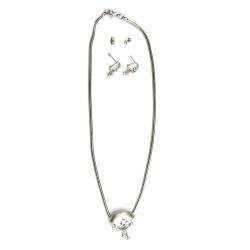 Комплект гердан обеци метал кристали