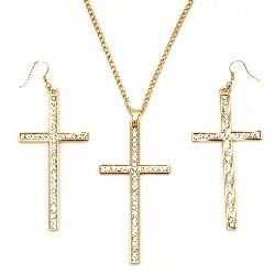 Комплект гердан обеци метал цвят злато кристали кръст