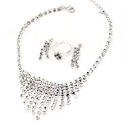 Комплект гердан обеци пръстен метал с кристали