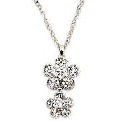 Гердан метал цвят сребро кристали цветя 70 мм 42 см