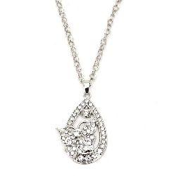 Гердан метал цвят сребро кристали капка с пеперуда 55 мм 40 см