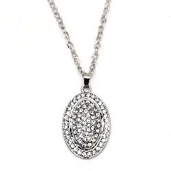 Гердан метал цвят сребро кристали овал 55x34 мм 41 см