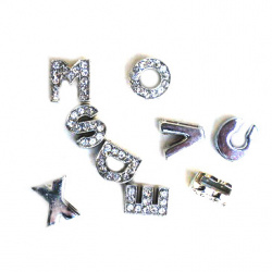 Metal letter beads for stringing with tiny crystals
