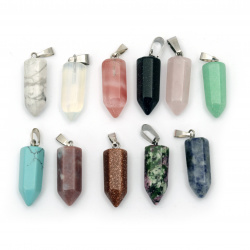 Pendant natural stone ASSORTED colors 22x9 mm