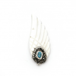 Pendant nacre wing with polymer, crystals and turquoise 55x20x4 mm hole 2 mm