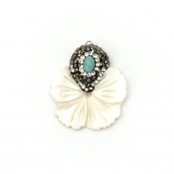 Pendant mother of pearl flower with polymer, crystals and turquoise 28x25x3 mm hole 1 mm