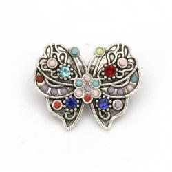 Брошка метал с кристали пеперуда 15x19x8 мм цвят сребро