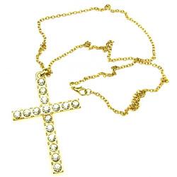 Гердан метал кръст 75x50 мм кристали цвят злато 39 см
