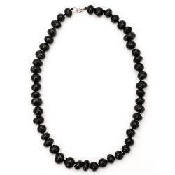 Гердан естествен камък АХАТ черен 22 см