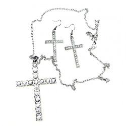 Комплект гердан обеци метал кристали кръст