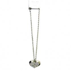 Гердан метал цвят сребро кристали сърце 30x46 мм 38 см