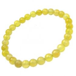 Гривна естествен камък АХАТ жълт топче фасетирано 6 мм