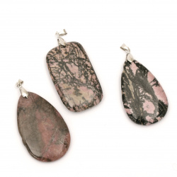 Pendant natural stone RHODONITE 32x52 mm