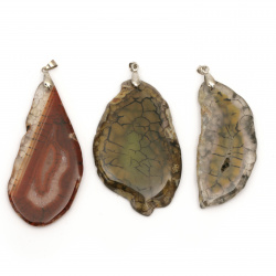 Pendant natural stone MIXED colors 32~46x44~55 mm
