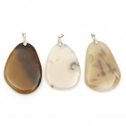 Висулка естествен камък АХАТ кафяв 35~40x50~58 мм