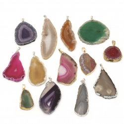 Pendant natural stone Agate assorted colors and shapes 25~70x45 ~115x4~8 mm