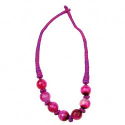 Гердан текстил естествен камък АХАТ розов 24 см
