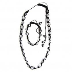 Комплект ШАМБАЛА гердан гривна текстил стъкло хематит