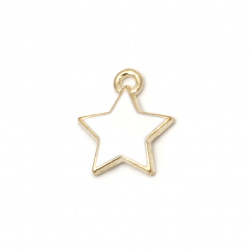 Metal pendant for jewelry making white   star 14x12x2 mm hole 2 mm color gold - 5 pieces