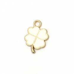 Jewelry finding, metal pendant white clover 17x13x2 mm hole 2 mm color gold - 5 pieces